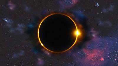 Digital Art - Total Solar Eclipse In Space by Georgeta Blanaru