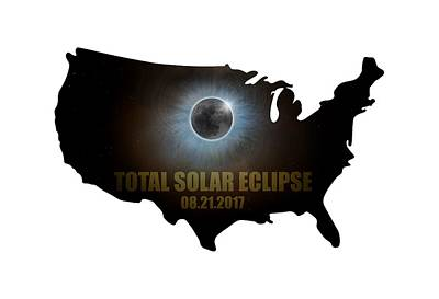 Digital Art - Total Solar Eclipse In United States Map Outline by David Gn