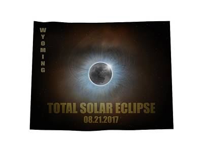 Corona Photograph - Total Solar Eclipse In Wyoming Map Outline by David Gn