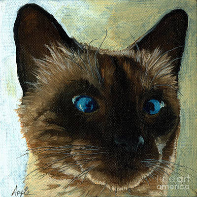 Totally Siamese - Cat Portrait Oil Painting Art Print by Linda Apple
