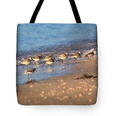 Photograph - Tote Bag - Beachcombers - Sandpiper's On The Beach by HH Photography of Florida