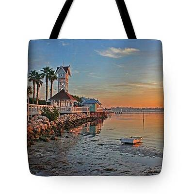 Photograph - Tote Bag - Sunrise At The Pier by HH Photography of Florida