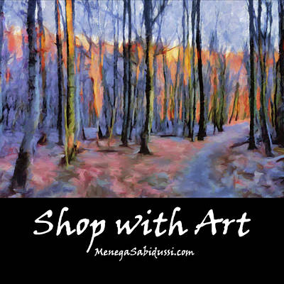 Painting - Tote - Winter Sunset In The Beech Wood - Shop With Art by Menega Sabidussi