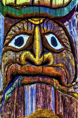 Totem Pole Photograph - Totem Colorful Face by Garry Gay