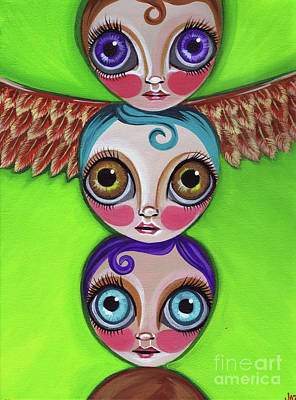 Totem Pole Painting - Totem Dolls by Jaz Higgins