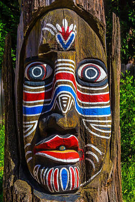 Totem Pole Photograph - Totem Face by Garry Gay
