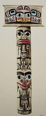 Totem Pole Art Print by Lucy Deane