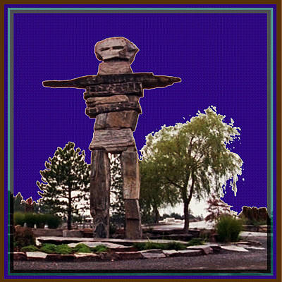 Mixed Media - Totem Pole North West Canada Landmarks Celebration Of  Native Art And Culture by Navin Joshi