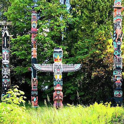 Painting - Totem Poles At Stanley Park In Vancouver by Jacki Kellum