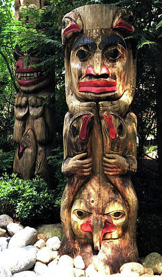 Painting - Totem Poles At Capilano Park In Vancouver Canada by Jacki Kellum