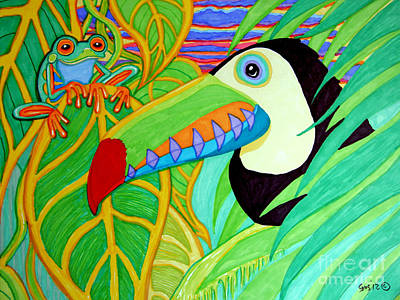 Animals Drawings - Toucan and Red Eyed Tree Frog by Nick Gustafson