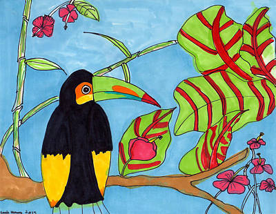 Toucan Drawing - Toucan by Lucy Lu