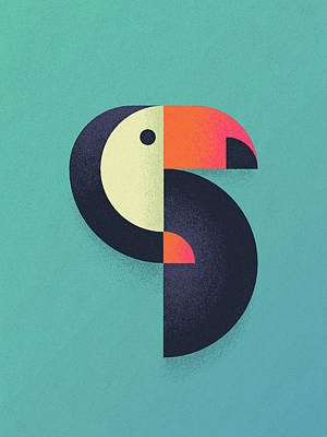 Geometric Animal Digital Art - Toucan Geometric Airbrush Effect by Ivan Krpan
