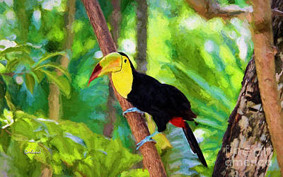 Trees In Snow Mixed Media - Toucan On The Hunt by Garland Johnson