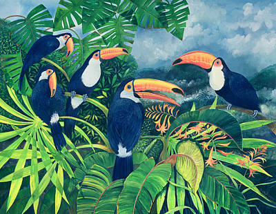 Flock Of Bird Painting - Toucan Talk by Lisa Graa Jensen