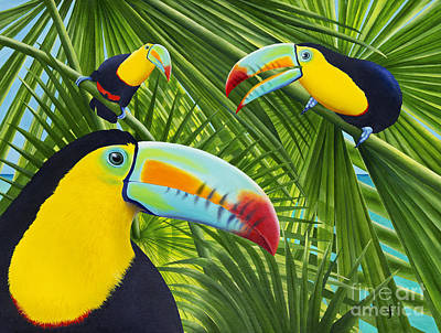 Toucan Painting - Toucan Threesome by Carolyn Steele