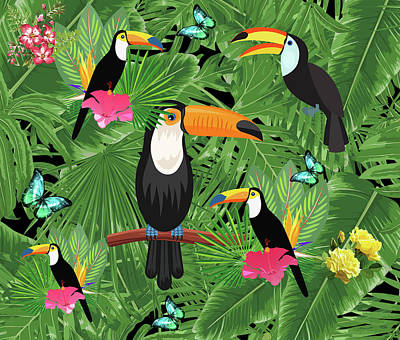 Nature Abstract Digital Art - Toucan Tropic  by Mark Ashkenazi