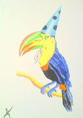 Toucan With  Party Hat Art Print by Roger Golden