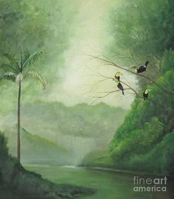 Toucans Rainforest River Original by William Patterson