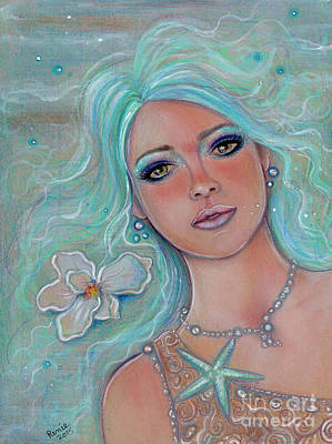 Mermaid Drawing - Touch Of Spring Mermaid by Renee Lavoie