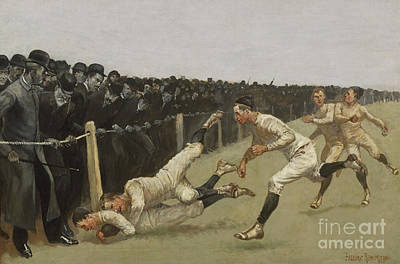Painting - Touchdown, Yale Vs. Princeton, Thanksgiving Day, Nov 27th 1890 by Frederic Remington