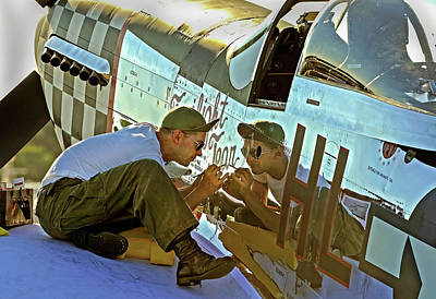 Personalized Name License Plates - Touching the past Painting a P-51D by Rodman Reilly