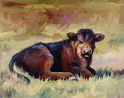 Cow Painting - Tough Guy  Angus Calf Western Art by Kim Corpany