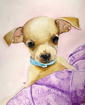 Teacup Chihuahua Painting - Tough Guy by Carol Blackhurst