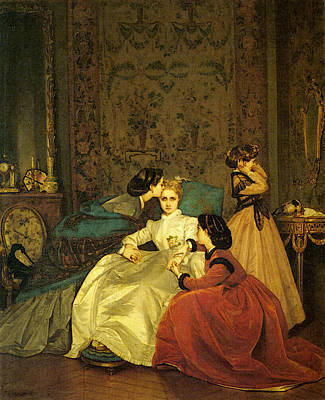 Digital Art - Toulmouche Auguste The Reluctant Bride by Auguste Toulmouche