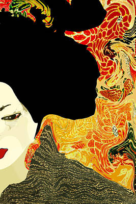 Photograph - Toulous Lautrec Style Japanese Geisha by Suzanne Powers