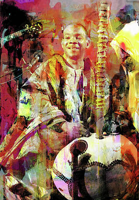 Jazz Mixed Media Royalty Free Images - Toumani Diabate Royalty-Free Image by Mal Bray