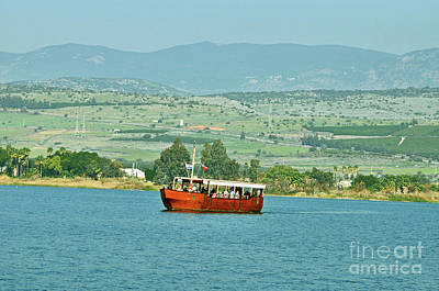 Photograph - Tour Boat On The Sea Of Galilee  by Lydia Holly