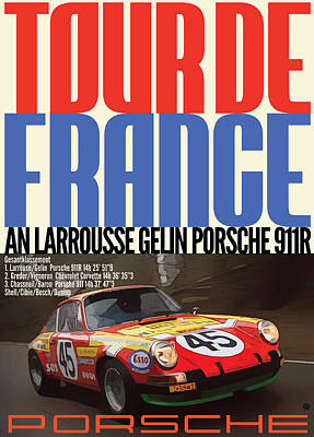 Digital Art - Tour De France Porsche by Gary Grayson