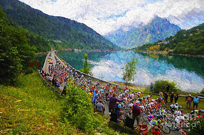 Spectators Mixed Media - Tour De France Through The Mountains by Garland Johnson