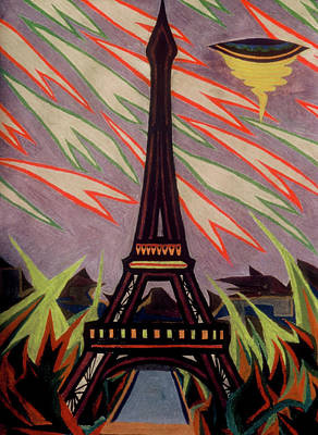 Painting - Tour Eiffel Et Ovni by Robert SORENSEN
