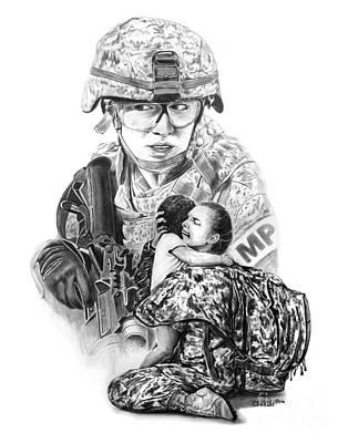 Drawing - Tour Of Duty - Women In Combat Le by Peter Piatt
