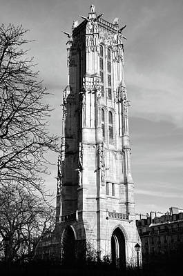 Photograph - Tour Saint-jacques Gothic Bell Tower Paris France Black And White by Shawn O'Brien