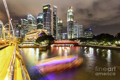 Photograph - Tourboat Rush On Singapore River At Night In Business District.  by Didier Marti