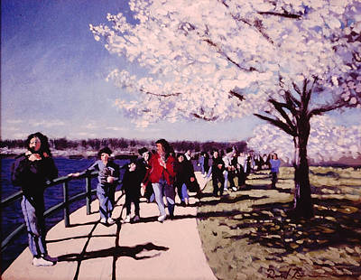 Jefferson Memorial Painting - Touring The Tidal Basin by David Zimmerman