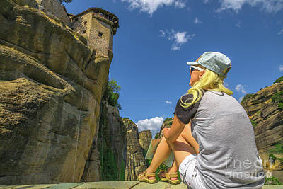 Photograph - Tourist At Monastery Meteora by Benny Marty