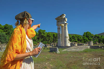 Photograph - Tourist At Temple Of Asklepieion by Benny Marty