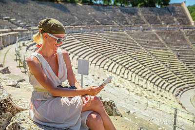 Photograph - Tourist At Theater Epidaurus by Benny Marty