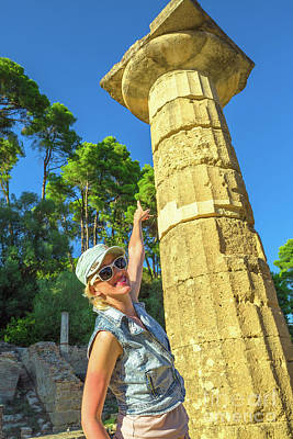 Photograph - Tourist In Ancient Olympia by Benny Marty
