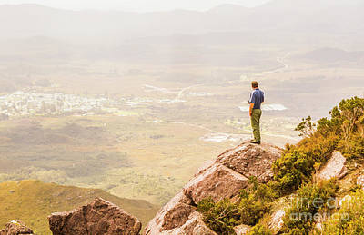 Hike Photograph - Tourist On The Tip Of Western Tasmania by Jorgo Photography - Wall Art Gallery
