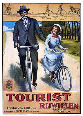 Mixed Media - Tourist Rijwielen - Bicycle - Vintage Advertising Poster by Studio Grafiikka