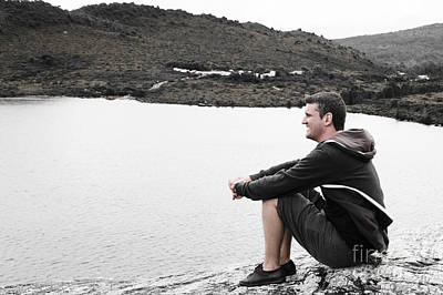 Hoodies Photograph - Tourist Seated At Dove Lake Lookout In Tasmania by Jorgo Photography - Wall Art Gallery