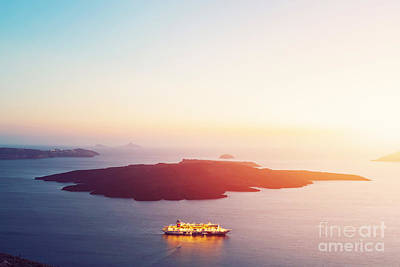 Peace Photograph - Tourist Ship Cruiser Sailing Next To Nea Kameni by Michal Bednarek