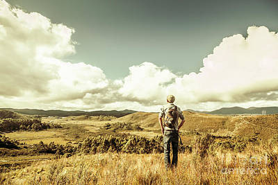 Tourist With Backpack Looking Afar On Mountains Art Print
