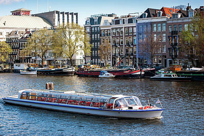 Photograph - Touristic Boat At Amsterdam Canal by Jenny Rainbow