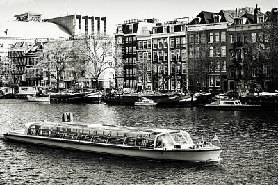 Photograph - Touristic Boat At Amsterdam Canal. Monochrome by Jenny Rainbow